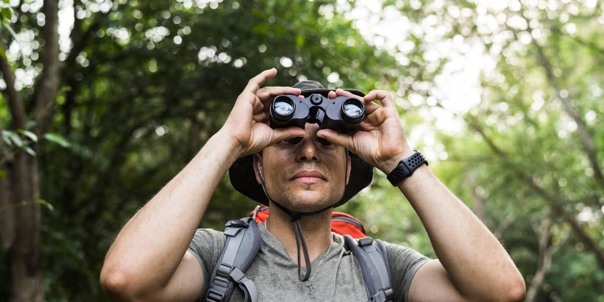 Uomo con binocolo in una foresta